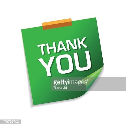 Thank You Green Sticky Notes Vector Icon Design