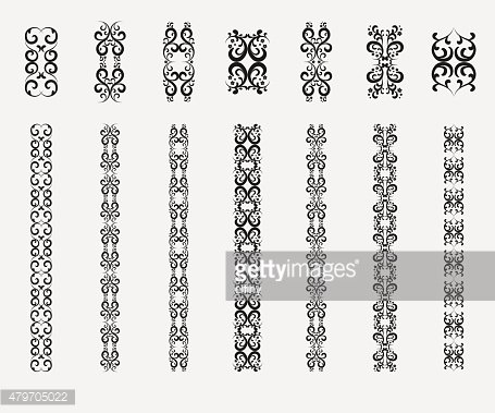 Patterned design elements. Decorative borders