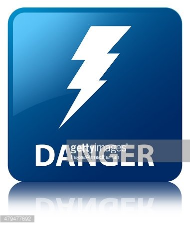 Danger (electricity icon) blue square button