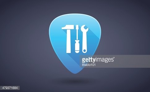 Blue guitar pick icon with a tool set