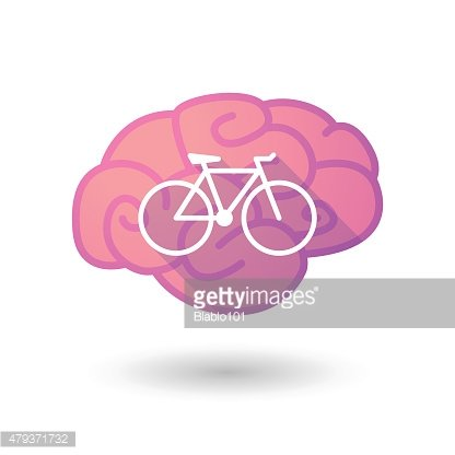 Brain icon with a bicycle