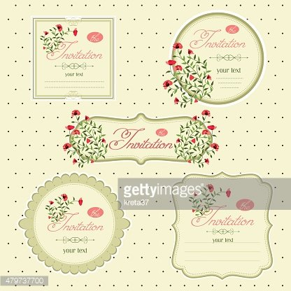 Vector image of invitation icons, postcards.