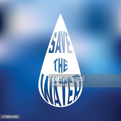 Silhouette of drop with concept text inside Save the water