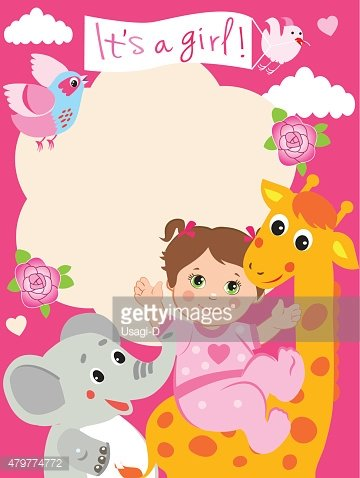 Baby Girl Shower Invitation Card With Funny Giraffe.