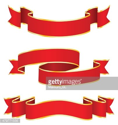 Celebration Curved Ribbons Variations Isolated on White