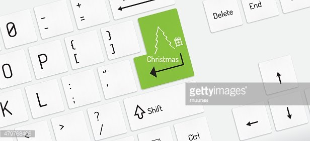 white keyboard, christmas tree and gift