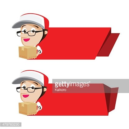 Smile delivery holding box packing with red banner, vector illus