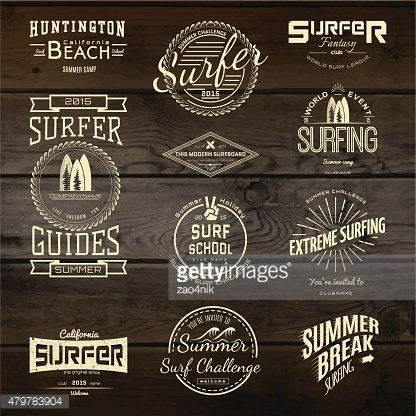 Surf badges logos and labels for any use