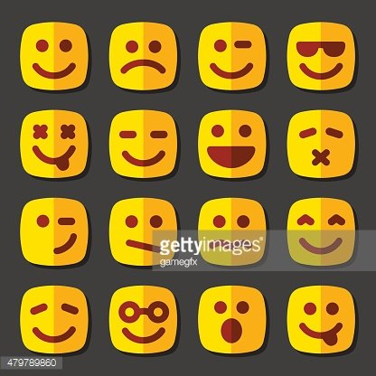 Emotional square yellow faces icon set