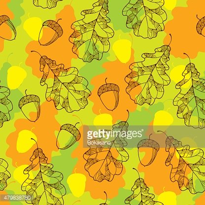 Seamless pattern with decorative oak leaves and acorns