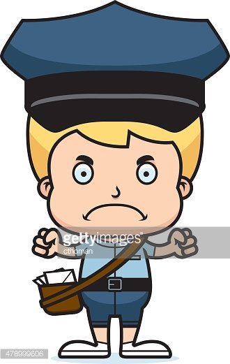 Cartoon Angry Mail Carrier Boy