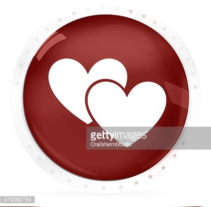 two hearts red round