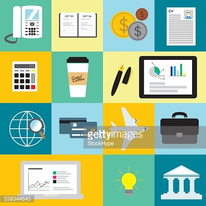 Flat icons for business or finance on colorful background.