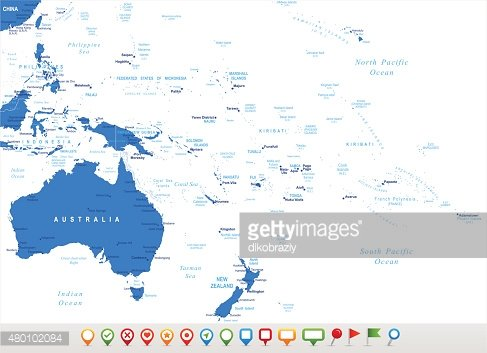 Australia and Oceania - map and navigation icons ...
