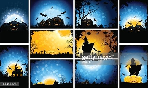 Halloween Party Backgrounds Set