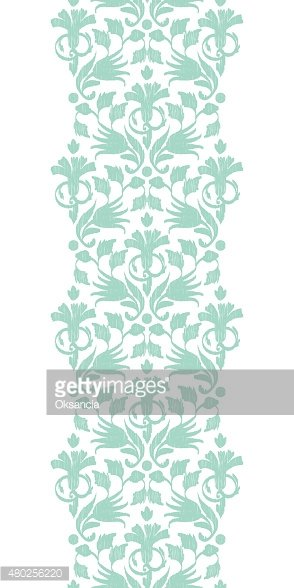 Vector abstract green ikat vertical border seamless pattern background