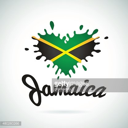 Love Jamaica lettering Heart illustration, carribean music logo design. African
