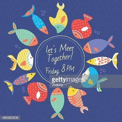 Invitation card with multicolored sea fishes