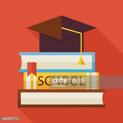 Flat Graduation from School with Hat and Books Illustration with