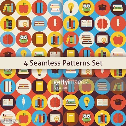 Four Vector Flat Seamless Reading Books and Knowledge Patterns S