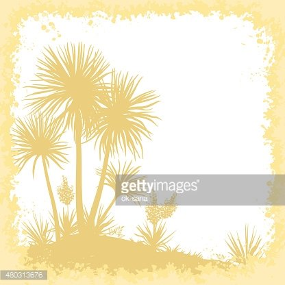 Palms, Flowers and Frame of Blots Silhouettes