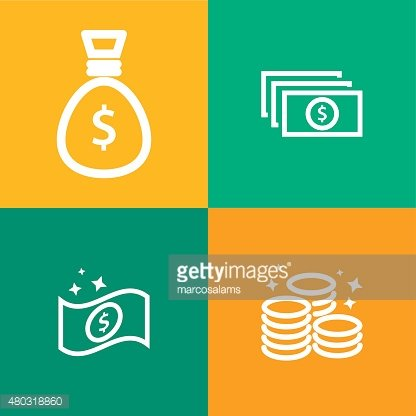 Banknotes and coin vector icon