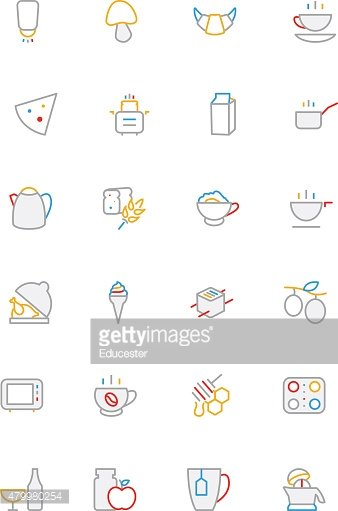 Food Colored Lined Icons 9