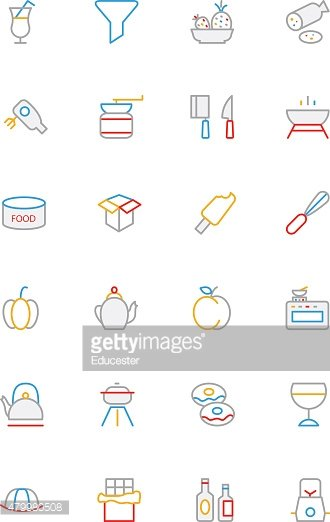 Food Colored Lined Icons 12