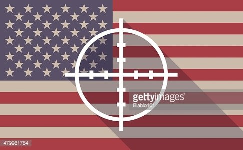 Long shadow USA flag icon with a crosshair