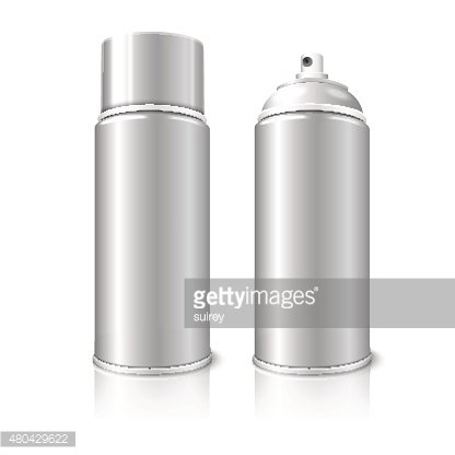 Two realistic, blank vector aerosol spray metal 3D bottle cans