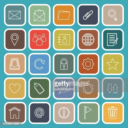 Mail line flat icons on blue background