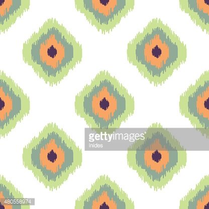 Ikat vector seamless pattern. Abstract geometric background for fabric, print