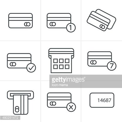 Line Icons Style Vector black credit cart icons set