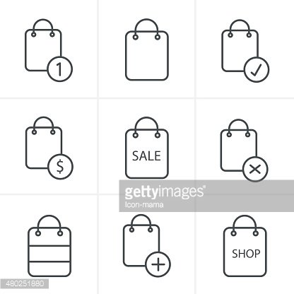 Line Icons Style Shopping bag icons on white background. Vector