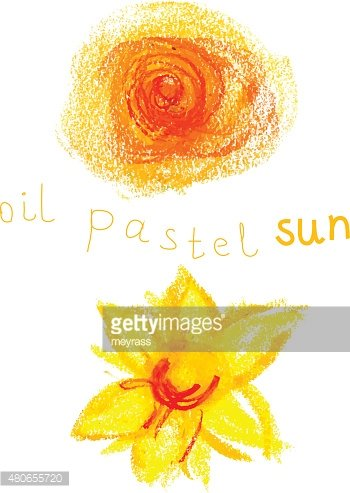 Oil pastel colorful vector suns