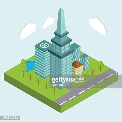 Business center city area buildings isometric concept abstract v
