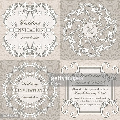 Baroque wedding invitation set, grey and beige