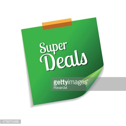Super Deals Green Sticky Notes Vector Icon Design