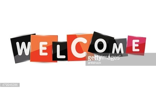 Welcome word with each letter on separate square plate