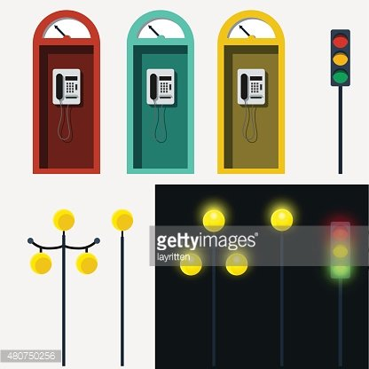 Set of phone booth lamp and traffic light