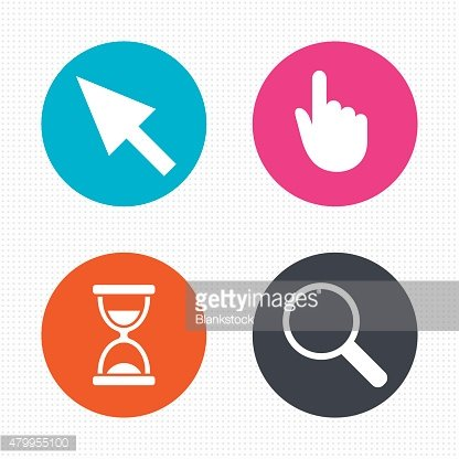 Mouse cursor icon. Hourglass, magnifier glass