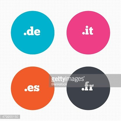 Top-level domains signs. De, It, Es and Fr
