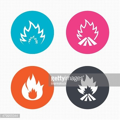 Fire flame icons. Heat signs