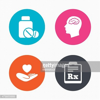 Medicine icons. Tablets bottle, brain, Rx