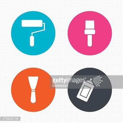 Paint roller, brush icon. Spray can and Spatula