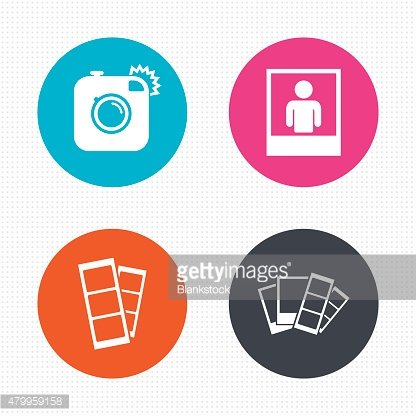 Photo camera icon. Flash light and selfie frame