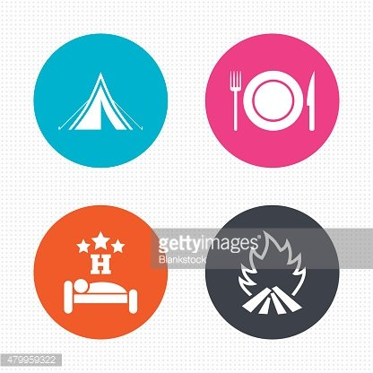 Food, sleep, camping tent and fire signs