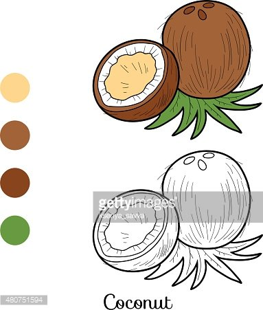 Coloring book: fruits and vegetables (coconut)