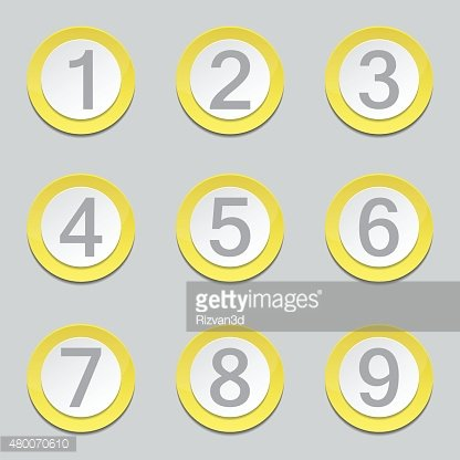 Numbers Counting Yellow Vector Button Icon Design Set