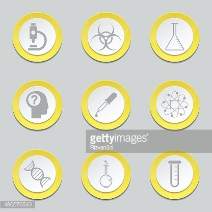 Science Instruments Yellow Vector Button Icon Design Set